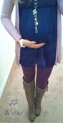 Faith in Fairy Tales: 22 Weeks - 12/12/2013 Navy Tunic, Pink Cardigan, Plum Leggings, Taupe Boots, Sparkly Necklace, Weekly Pregnancy Tracker, Bump Picture, Maternity Style