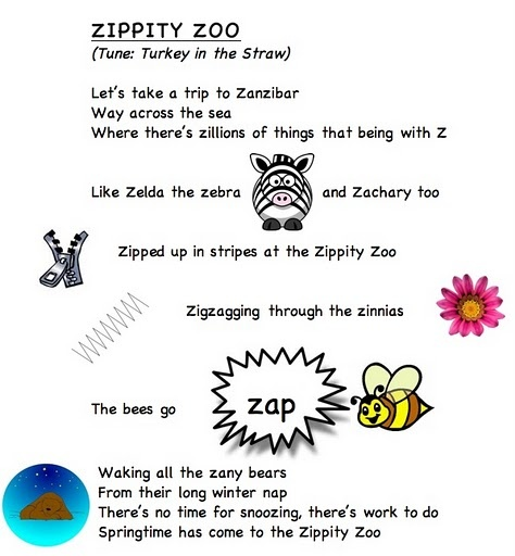 Alphabet letter song Z (words from Frog Street Press)...link... https://docs.google.com/leaf?id=0B8JEqYoVwlm2ODFhM2U2ZDctMWEyOC00MDA0LWJmOWMtYjllNWI4NDE0ZGQ4&hl;=en_US
