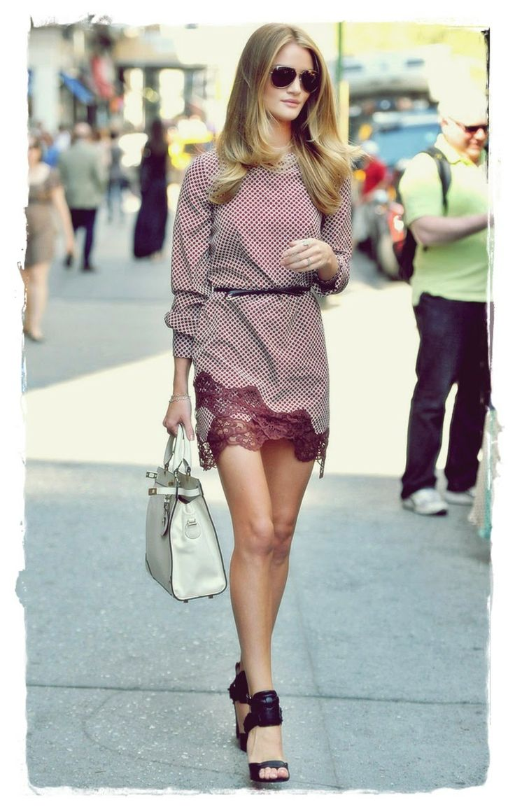 Rosie #Huntington Whiteley Street Style Snapshot - Model and actress Rosie Huntington-Whiteley shows off her legs in a short vintage dress while out and about in New York City. Rosie was recently named to the Sunday Times Rich List's under 30 category given her appeal in both the fashion and film industry. Rosie took one of Stella McCartney's runway pieces and made it sidewalk-ready with a down 'do and selective accessories.