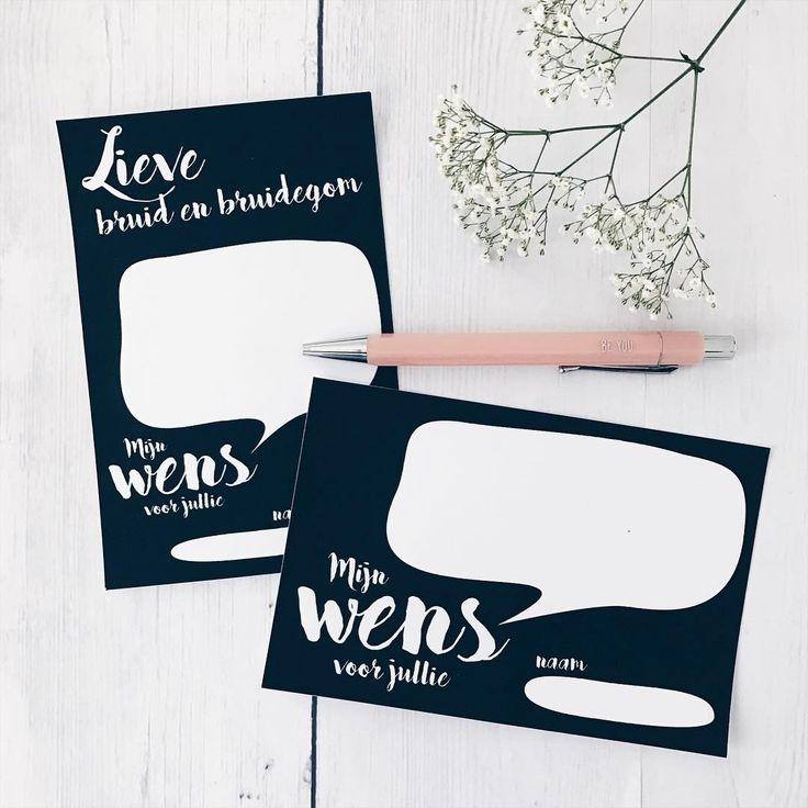 Een persoonlijke wens voor het bruidspaar schrijf je op deze leuke gastenboekkaarten • gastenboek • studiosproet.com