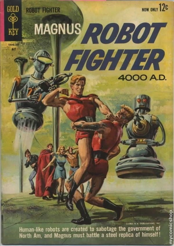 """Magnus Robot Fighter (1963 Gold Key) #2 Russ Manning art for """"Operation Disguise!"""" Plus more Manning art for Aliens story """"Space Derelict!"""" Painted front and back covers. # on cover 10046-305 May. #2 5/63"""