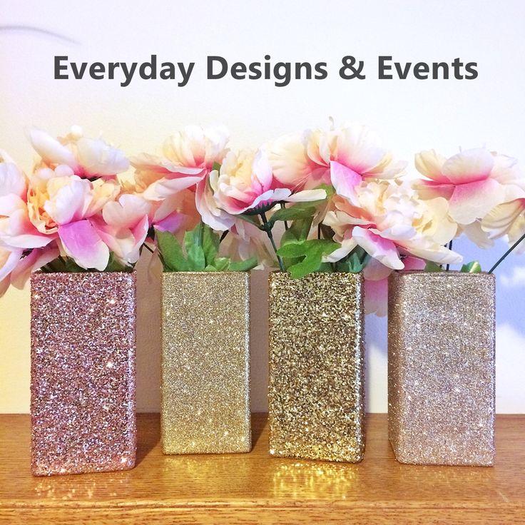 6 Glass Vases, Rose Gold Vases, Wedding Centerpieces, Rose Gold Centerpieces, Rose Gold Wedding, Wedding, Bridal Shower Decorations, SQUARE by EverydayDesignEvents on Etsy
