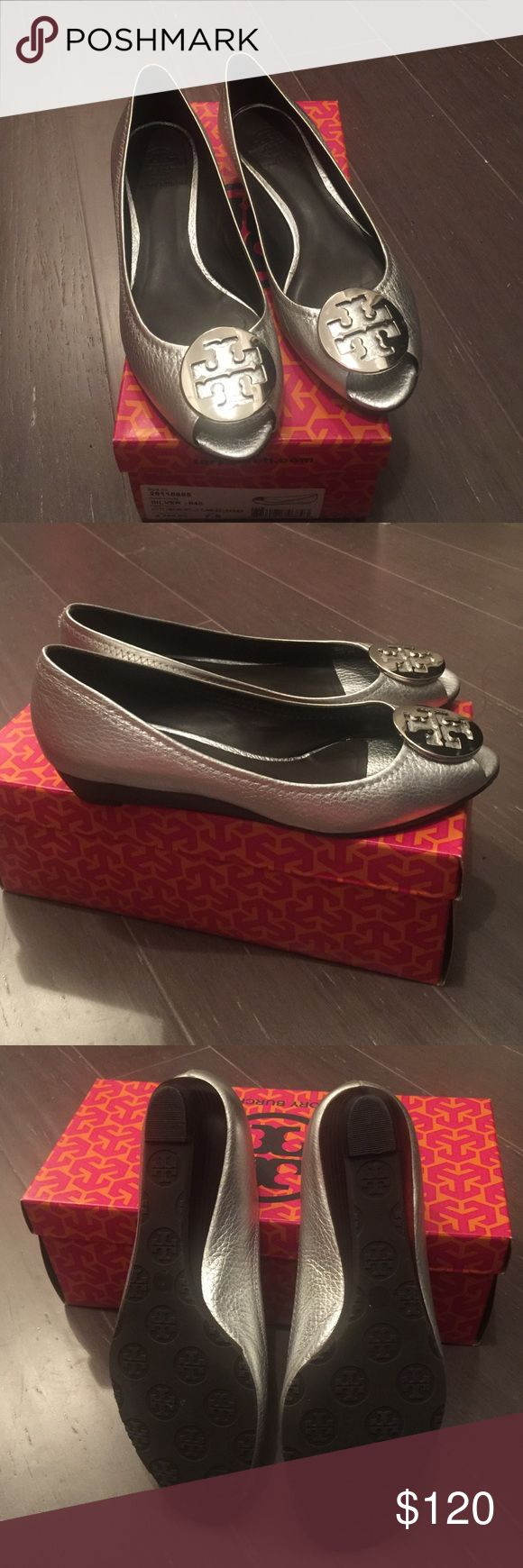 Tory Burch Metallic Wedges Tory Burch Kitty Wedge. Silver Metallic Tumbled Leather. Has been gently loved. Some small scratches on emblemed. Please see pics. Not noticeable when wearing. Tory Burch Shoes Wedges