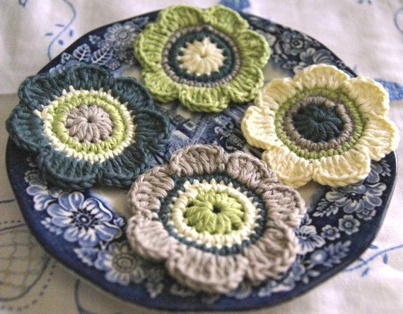 Crochet Flower Appliques in lime, malachite, sand and lemon - 3 wide. Made with very soft Organic Cotton Yarn. Would look perfect on a bag, jacket, jeans, accessories etc Click the link below to see more samples: