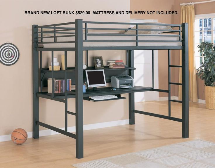 coaster bunks collection workstation full size loft bed with large desk keyboard tray and shelf in metal