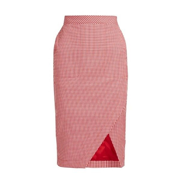 Altuzarra Wilcox stretch-cotton pencil skirt (£620) ❤ liked on Polyvore featuring skirts, red white, altuzarra, red asymmetrical skirt, embellished skirt, red skirt and cotton stretch skirt