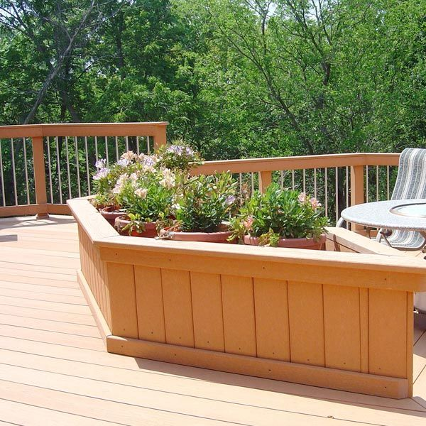 how to build a deck bench with planters