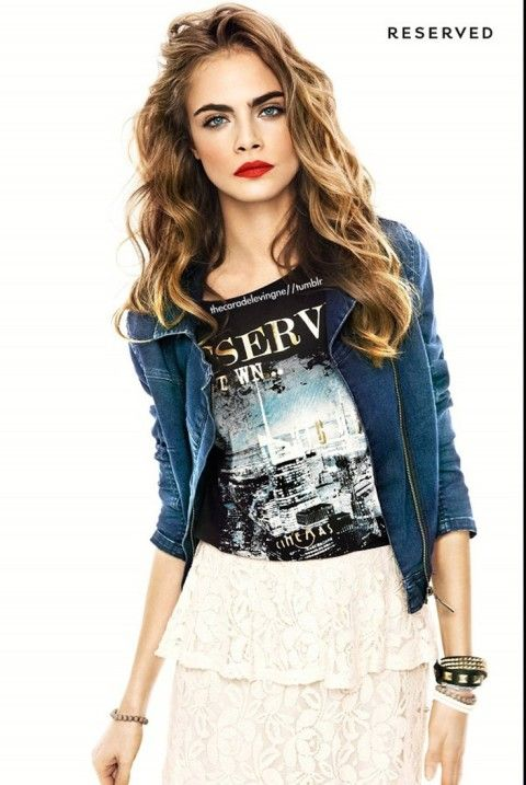 tossled hair #highlights #red #lips #eyebrows Cara Delevingne