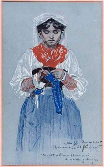 Jan Sluijters Romeins meisje, 1905, Portrait art knitter knitting young*