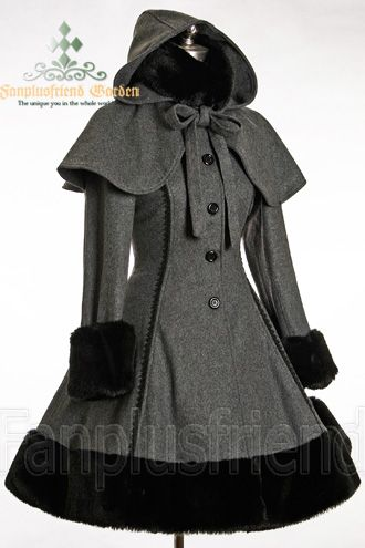 Classic Gothic Lolita Heavy Wool Fur Coat With Hood Cape In 2018 Lolita Gothic Lolita Coat Fashion