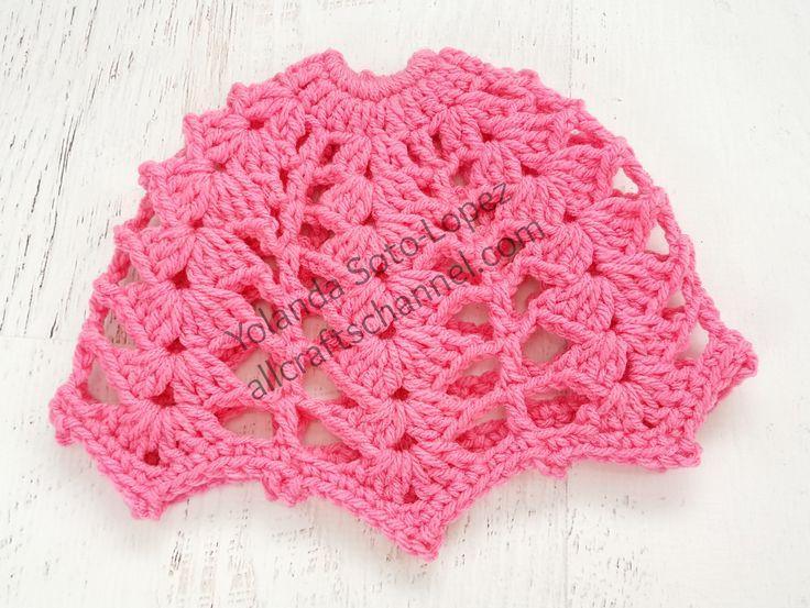 Shell Stitch Messy Bun Crochet Hat.  Blog post contains written pattern and video tutorial link.  Enjoy!