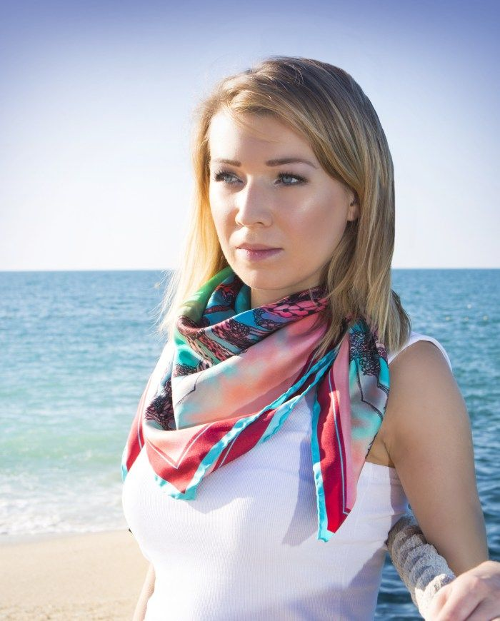 The Delesseria silk scarf is inspired by the bright red seaweed that lives between high and low tide zones. The 100% silk scarf has hand-rolled edges and is made in England. Currently sold in Vancouver.
