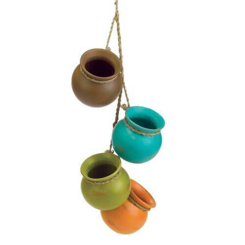 Wall Decor Set Dangling Mini Ceramic Pot Set of 4 Home Indoor Hanging Kitchen  #1