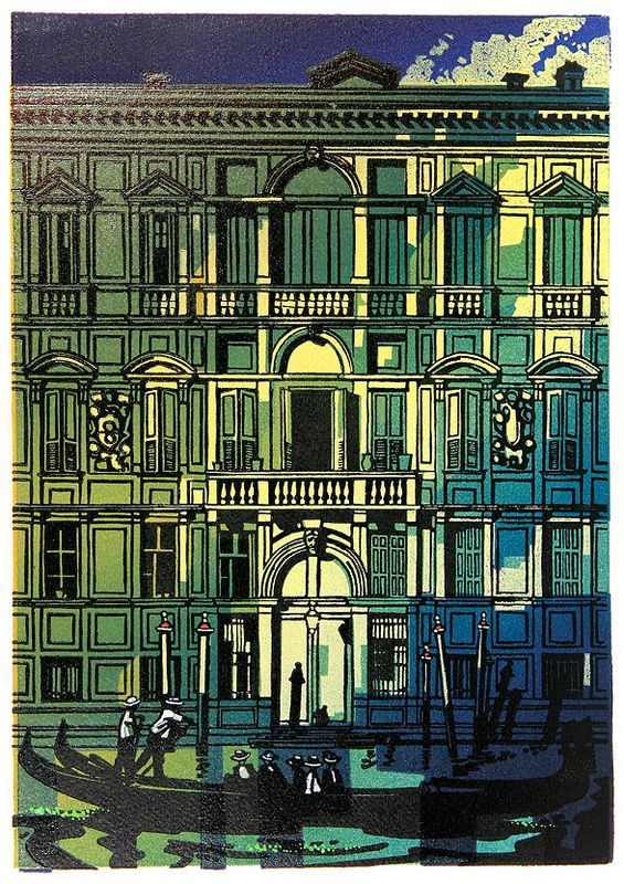 Canal, Venice - Linocut by Trevor Sowden