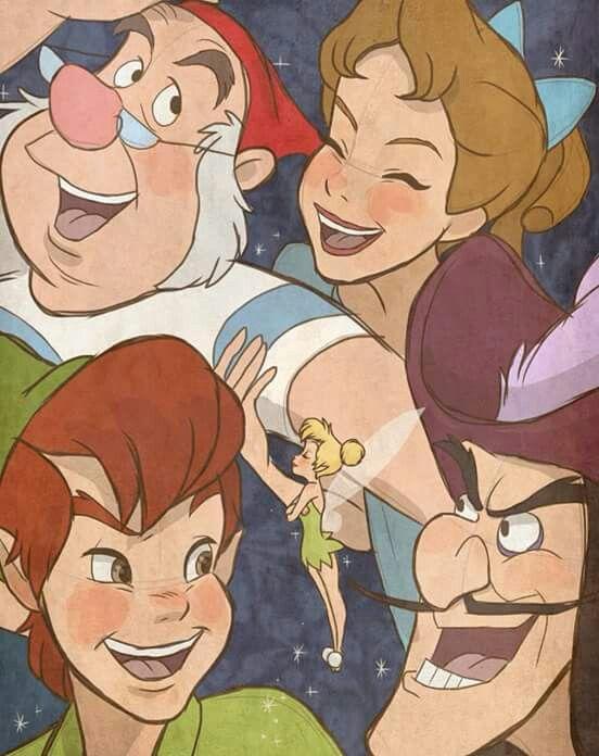 Peter, Wendy, Sr. Smith, James Garfio y Campanita