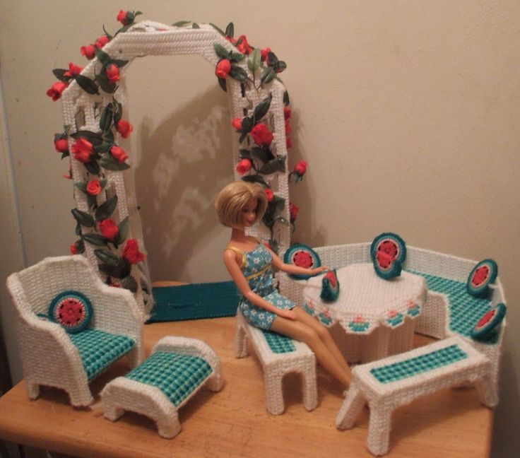Barbie Garden Patio Furniture Rose Archway Access 15 Pieces Size