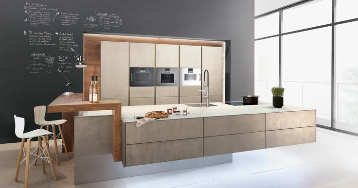 Our metal kitchen fronts: the soft and honeycombed structured surface Metal-X² consisting of metal filler has a natural and particularly handcrafted effect.