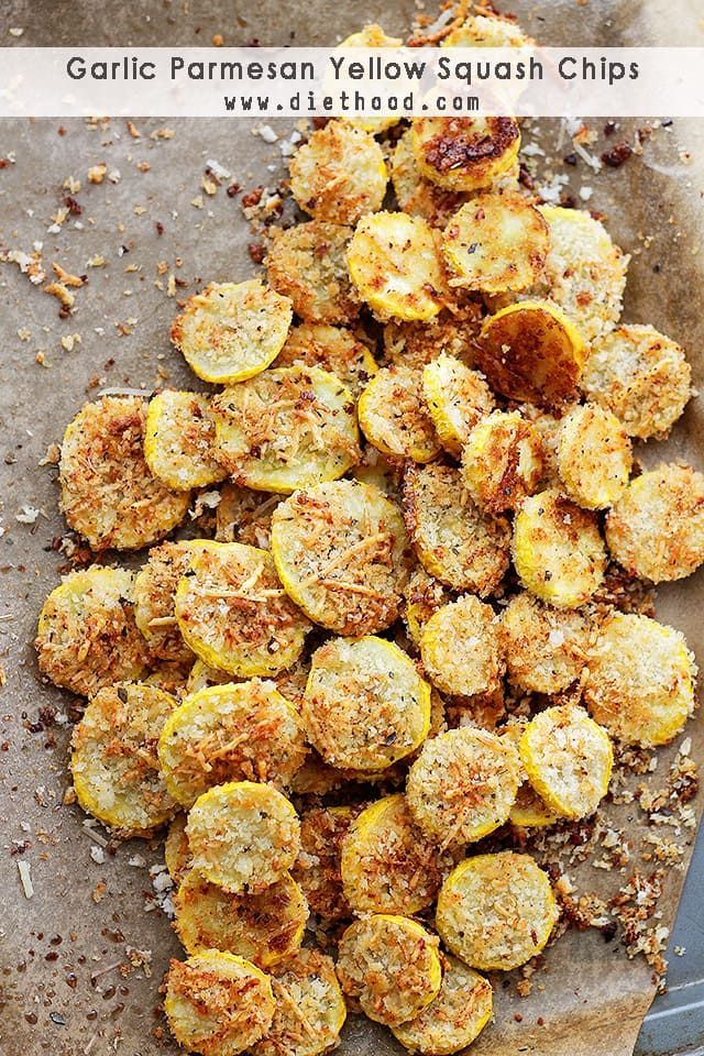 Garlic Parmesan Yellow Squash Chips: A healthy snack or appetizer that is incredibly flavorful, crispy, and absolutely delicious!