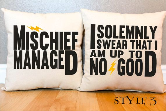 "3 Styles - Harry Potter ""I Solemnly Swear/Mischief Managed"" Marauder's Map Pillow Set - 2 Pillows on Etsy, $45.00"