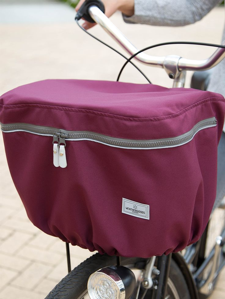 WEATHERGOODS Bicycle Basket Cover- Front model. Protect your purse or shopping from bad weather (and bad people!)
