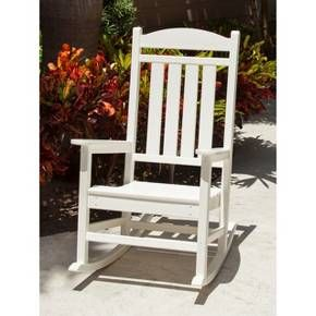 While it may look out of place in the Oval Office, the Polywood Presidential Rocker feels at home on front porches and patios from sea to shining sea. Whether at Mount Vernon or your backyard, this outdoor rocking chair evokes a dignified country gentry air. A President doesn't have time to stain or weatherproof their deck furniture and neither do you. Luckily it's already been done for you as the chair is constructed with a high performance lumber substitute made from high-de...
