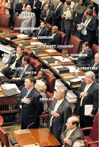 A photograph shows protesting New York state legislators sitting at their desks during the recitation of the Pledge of Allegiance.