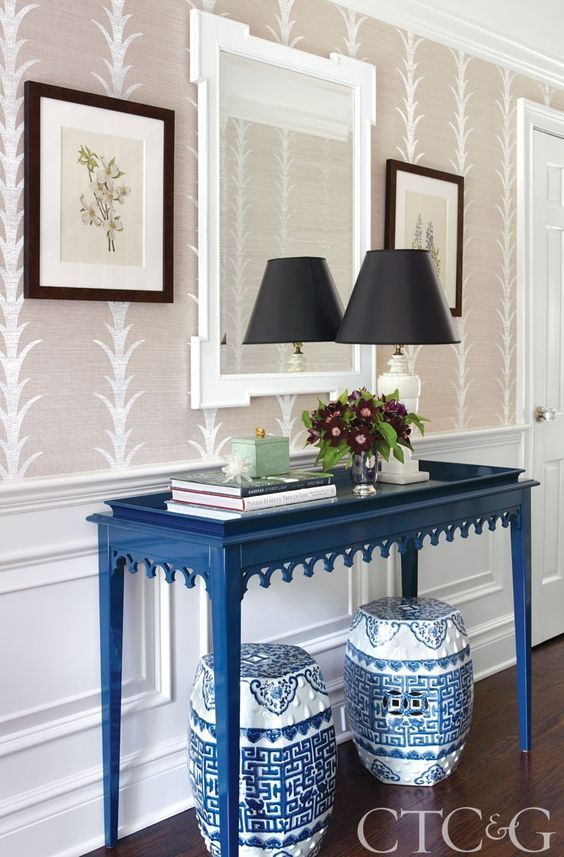 Connecticut Cottages And Gardens A Console Table From Oomph, Celerie Kemble  Acanthus Striped Wallpaper From