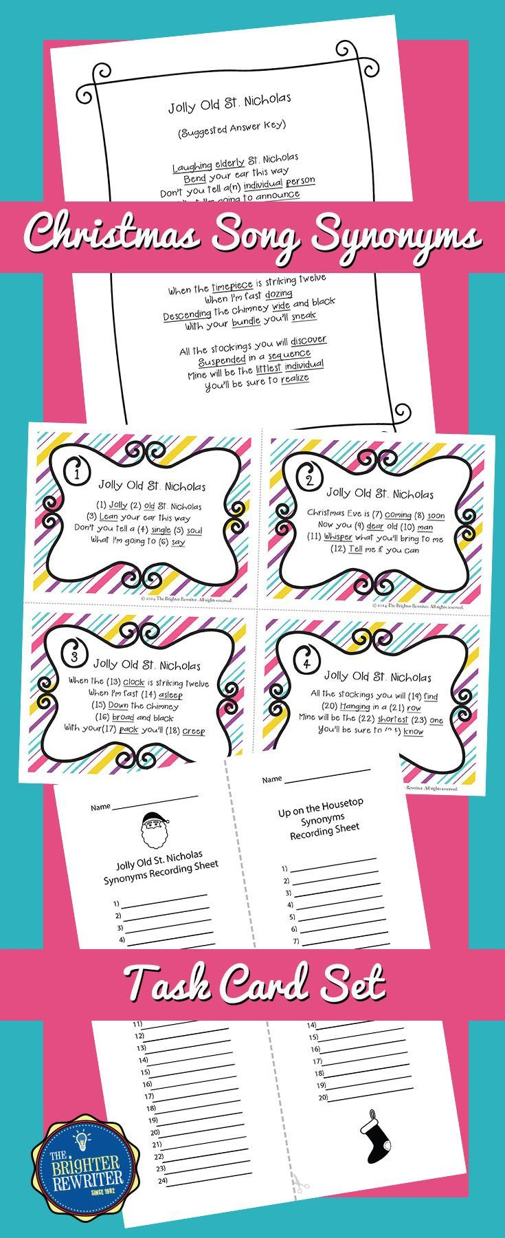 These 24 task cards feature verses from 6 popular Christmas carols. Students substitute synonyms for the underlined lyrics. For extra fun, have students sing the new song versions using synonyms!