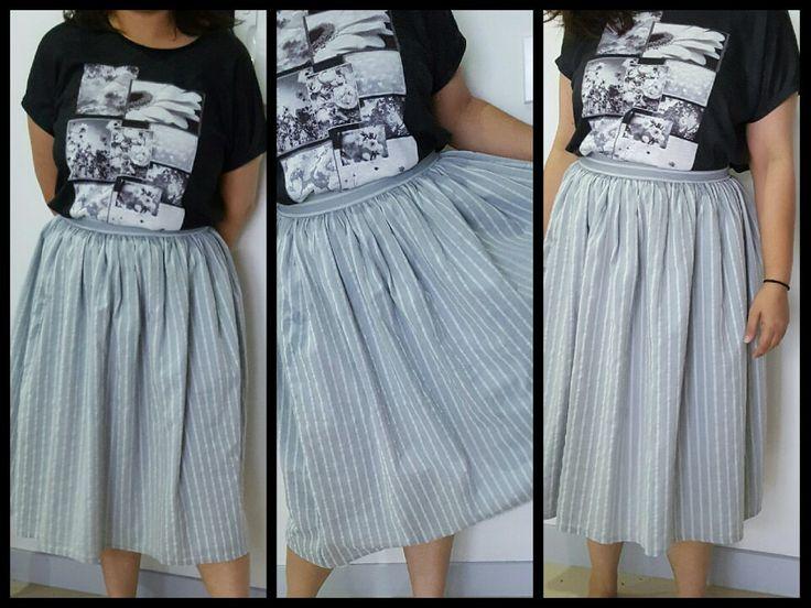 upcycle stripes midi skirt