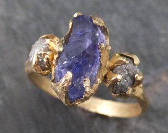 Sapphire Raw Rough Diamond 14k Gold Engagement Ring by byAngeline