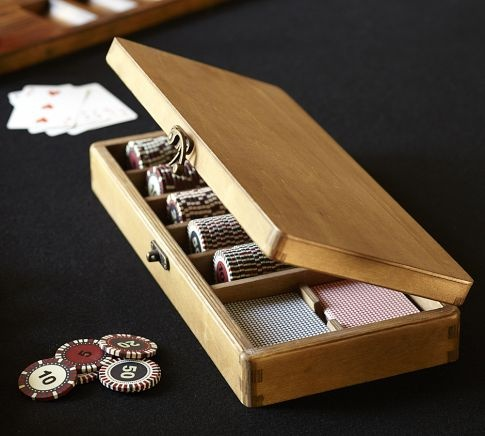 this poker set includes 200 chips in distressed glazed finishes and two decks of cards all neatly stored in a wood carrying case with a - Poker Sets