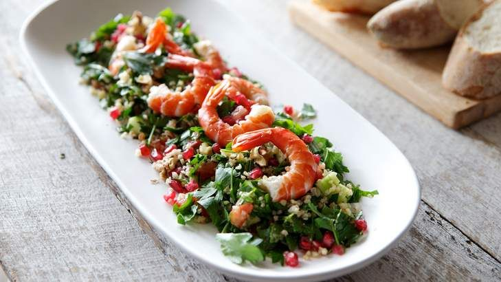 Tabbouleh with a twist ... Prawns, pomegranate, parsley, mint and cracked wheat make a stunningly fresh, tangy salad combo.