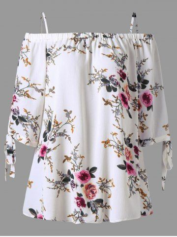GET $50 NOW   Join RoseGal: Get YOUR $50 NOW!http://m.rosegal.com/plus-size-blouses/floral-print-cold-shoulder-plus-1212423.html?seid=9668343rg1212423