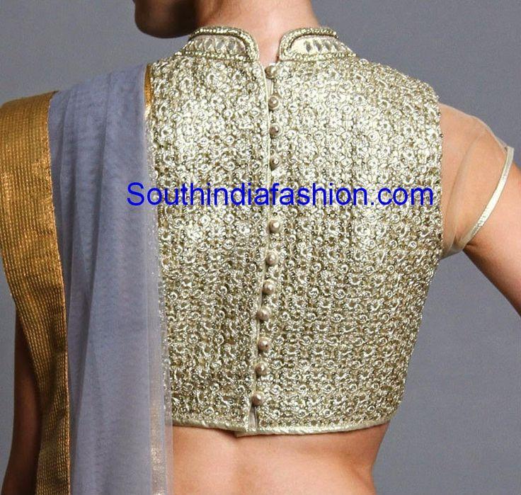 Trendy High Neck Gold Blouse ~ Celebrity Sarees, Designer Sarees, Bridal Sarees, Latest Blouse Designs 2014