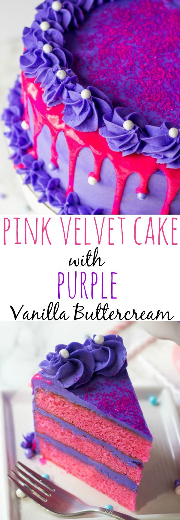 This Pink Velvet Cake with Purple Vanilla Buttercream is the perfect cake for a birthday celebration where bright colors and fun are the main purpose!