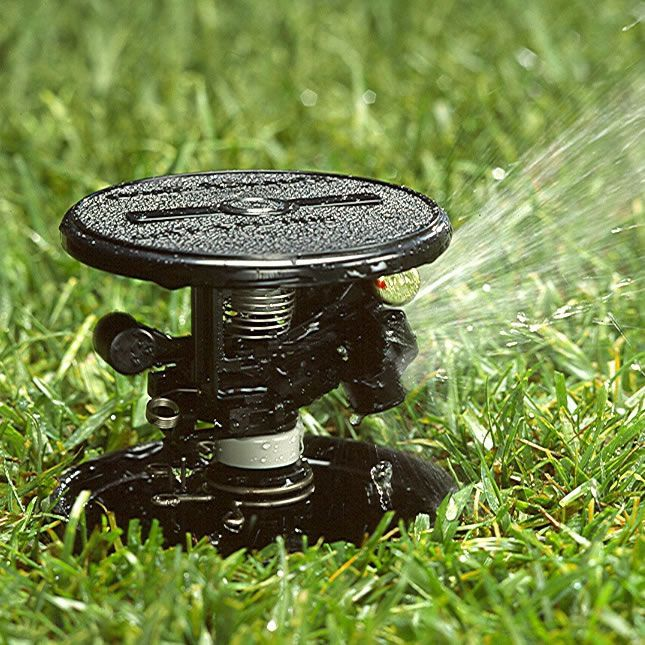 From www.easygardenirrigation.co.uk - Impact sprinklers are the traditional type of lawn sprinkler, designed over 80 years ago by Rain Bird to keep lawns lush and green, still have there place today in the garden irrigation world. The type pictured is a pop up impact sprinkler.