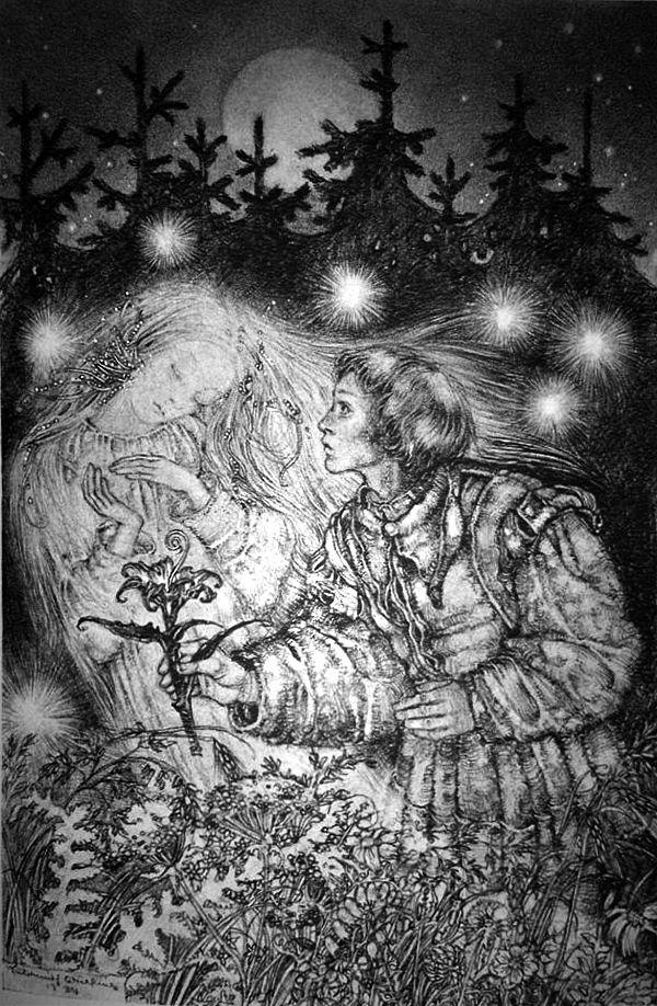 """Jorinde und Joringel, by Sulamith Wülfing from """"Die Truhe"""", Band VII (1935)"""