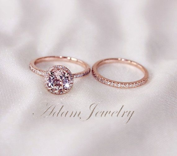 $590 Discount!! Two-Ring Set! Round Cut 7mm VS Halo 14K Rose Gold Morganite Ring SI/H Diamonds Wedding Band /Engagement Ring/ Promise Ring