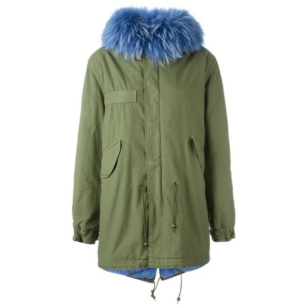 Mr & Mrs Italy blue trim parka coat ($4,998) ❤ liked on Polyvore featuring outerwear, coats, green, green parkas, green coat, parka coats and green parka coat