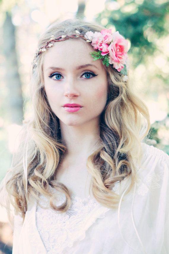 pink rose floral crown, bridal flower hair crown, woodland wedding, pale pink flower, milinery flower on Etsy, $56.00