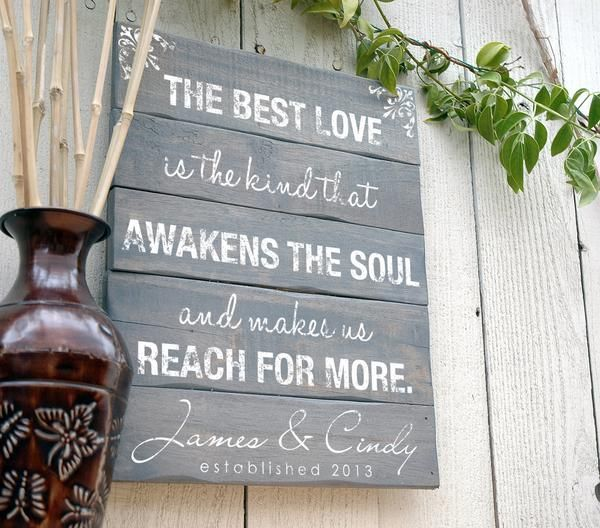 This beautiful love quote sign is hand crafted on a rustic wood pallet sign. Personalized it with your established date and last name. Fast turnaround. Order Online Today!