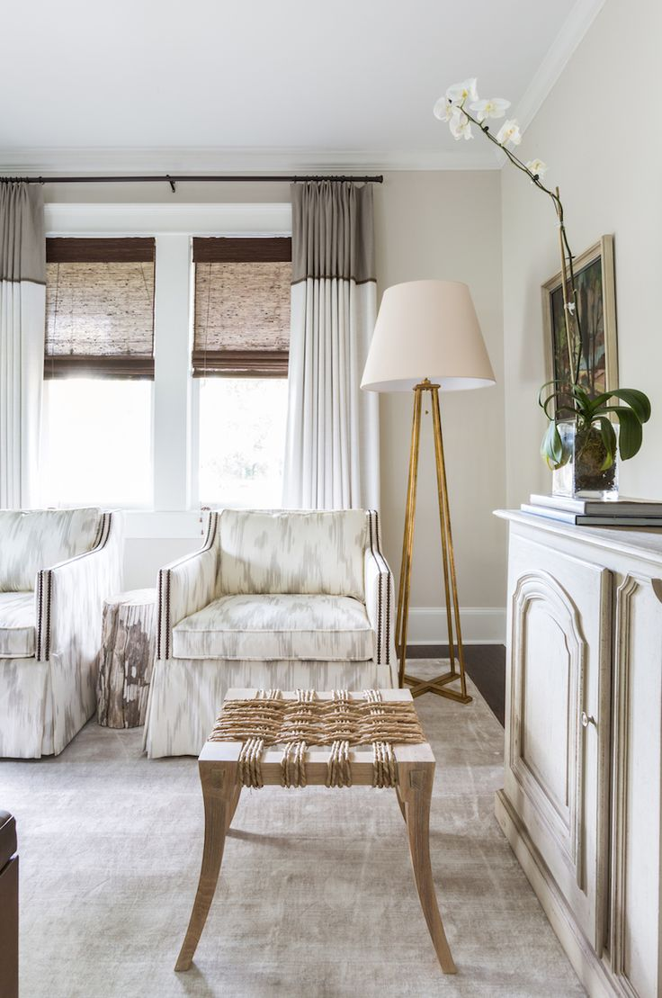 Inspiration for a mid sized timeless enclosed living room remodel in - Camille Styles Home Tours Marie S Timeless Craftsman Home Marie Flanigan Interiors Neutral Living Room