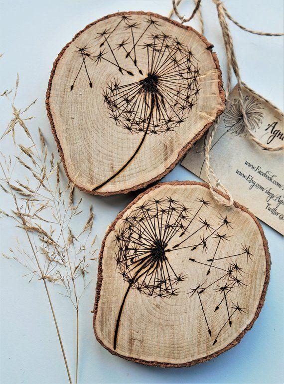 Make a wish, dandelion wooden disc, dandelion artwork, personalized branch slice, wooden disc pyrography, wood burning art, wood burning
