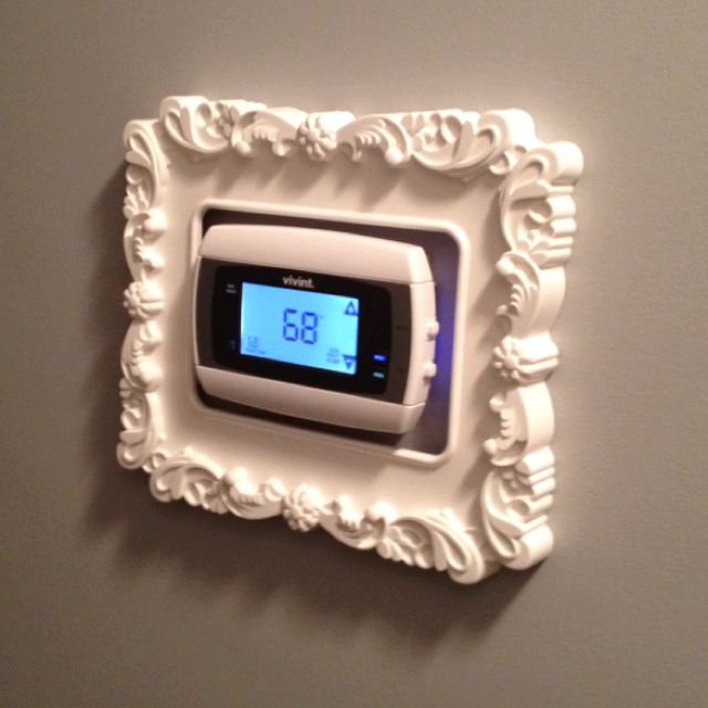 My framed thermostat...$5 Ikea frame!Decor, Thermostat 5 Ikea, Good Ideas, Frames Thermostat 5, Thermostat Frame, Cute Ideas, Ornate Frame, Ikea Frames, Cool Ideas