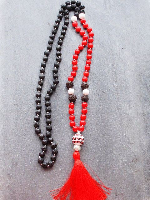 Black Lava Rock and Red Coral 108 Knotted by GlassHouseLampwork