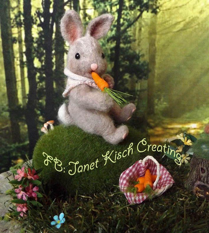 needle felted rabbit, crafted by Janet Kisch https://www.facebook.com/janetkischcreating/