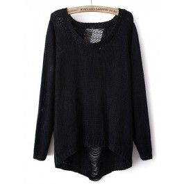 Black Long Sleeve Ripped Knit Loose Sweater #celeb16 #sweater