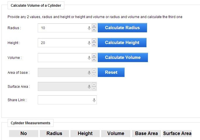 Volume of Cylinder Calculator