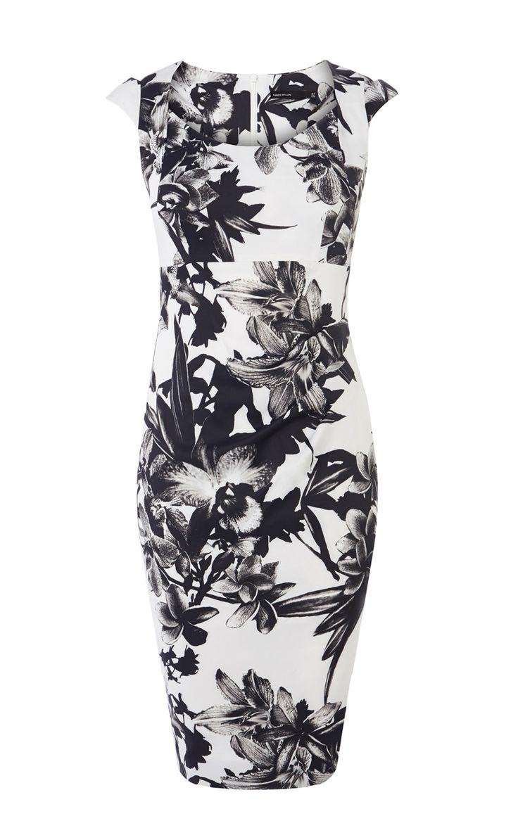 Jurken | Multi Jurk met zwart-witte bloemenprint | Karen Millen