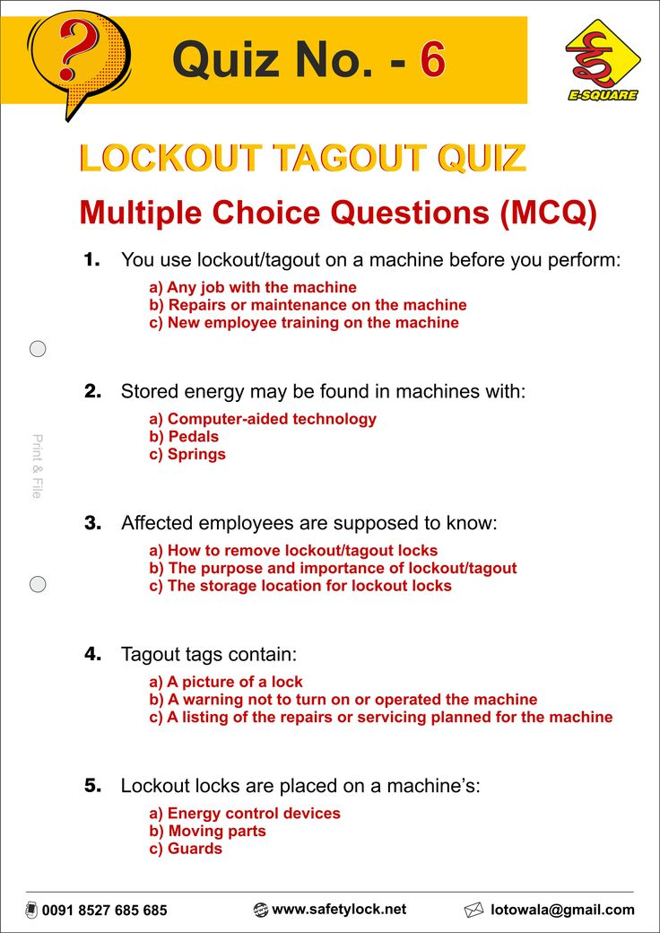 Lockout Tagout Questions Answers for Interview LOTO Quiz